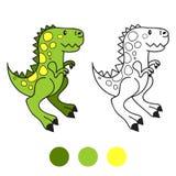 Dino, динозавр Страница книжка-раскраски alien кот шаржа избегает вектор крыши иллюстрации Стоковое фото RF
