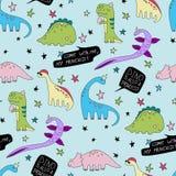 Dino также предпосылка динозавра шаржа картины вектора принцессы безшовная иллюстрация вектора