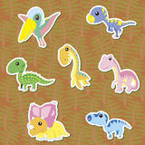 Dino-02. Seven cute color dinosaur stickers ,vector Stock Image