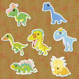 Dino-04. Seven cute color dinosaur stickers ,vector Royalty Free Stock Images