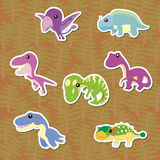 Dino-05. Seven cute color dinosaur stickers ,vector Royalty Free Stock Photos