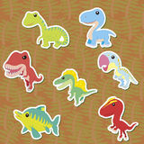 Dino-06. Seven cute color dinosaur stickers ,vector Stock Photography