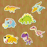 Dino-07. Seven cute color dinosaur stickers ,vector Royalty Free Stock Photo