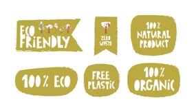 Text sign, slogan design set on a theme environmental, Eco friendly royalty free illustration