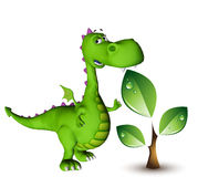 Dino baby dragon green plant Stock Photo