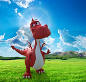 Dino baby dragon walking on the field Stock Images