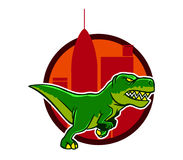 Dino And Big City Background courant Images stock