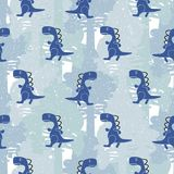 Dino blue color boy seamless vector pattern. Dino blue color boy seamless vector pattern camo. Kids animal apparel and wallpaper print Stock Photography