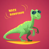 Dino Cartoon Toy Red Background-Affiche Royalty-vrije Stock Fotografie