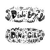 Dino ch?opiec i Dino dziewczyna literowania zwrot royalty ilustracja