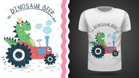 Dino con el tractor - idea para la camiseta de la impresi?n ilustración del vector