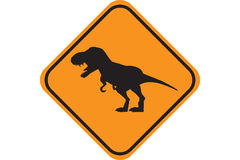 Dino Crossing. Sign of Dino Crossing. (Humor stock illustration