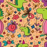 Dino cute flower seamless pattern Royalty Free Stock Photography