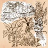 Dino, dinosaurios - un vector dibujado mano Línea arte Imágenes de archivo libres de regalías