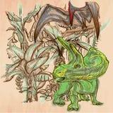 Dino, dinosaurios - un vector dibujado mano Línea arte Fotografía de archivo libre de regalías