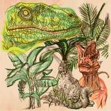 Dino, Dinosaurs - An hand drawn vector. Line art. Stock Image