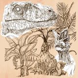 Dino, Dinosaurs - An hand drawn vector. Line art. Royalty Free Stock Images
