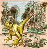 Dino, Dinosaurs - An hand drawn vector. Line art. Royalty Free Stock Photos