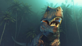 Dino dinosaurs with large fangs. In a forest. This is a 3d render illustration Royalty Free Stock Images