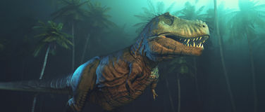 Dino dinosaurs with large fangs. In a forest. This is a 3d render illustration Stock Photos