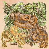 Dino, Dinosaurussen - een hand getrokken vector Lijnart. Stock Foto