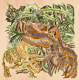 Dino, dinossauros - um vetor tirado mão Linha arte Foto de Stock