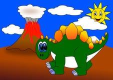 Dino e vulcano Fotografie Stock Libere da Diritti