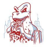 Dino eet gebouwen vernietigde stad vector illustratie
