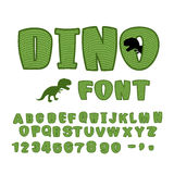 Dino font. dinosaur ABC. Texture animal of Jurassic period. Tyrannosaurus alphabet. Green Monster letters vector illustration