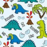 Dino Friends Dinossauros, ossos, e ovos engraçados dos desenhos animados Rex bonito de t, caráteres ilustração stock