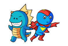Dino And Hero! Imagem de Stock Royalty Free
