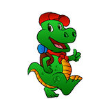 Dino hiker cartoon Stock Photography