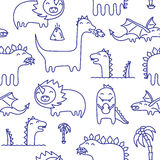 Dino ink doodles seamless vector pattern Royalty Free Stock Image