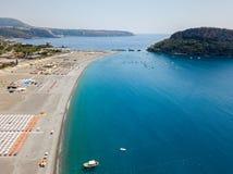 Dino Island, aerial view, island and beach, Praia a Mare, Cosenza Province, Calabria, Italy Stock Image