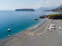 Dino Island, aerial view, island and landing, San Nicola Arcella, Cosenza Province, Calabria, Italy. Stock Photos