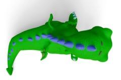 Dino le dragon vert à un arrière-plan blanc illustration libre de droits