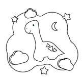 Dino lindo E Juego imprimible en arqueolog?a tem?tica Diplodocus del personaje de dibujos animados, luna, estrellas, nubes stock de ilustración