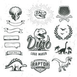 Dino logo maker set. Dinosaur logotype creator. Vector T-rex banner template. Jurassic period laurel crest illustration. Shield insignia concept design vector illustration