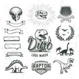 Dino logo maker set. Dinosaur logotype creator. Vector T-rex banner template. Royalty Free Stock Photo