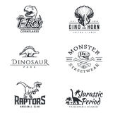 Dino logo set. Dinosaur logotype. Raptor sport mascot design. Vector T-rex label template. Jurassic period illustration Stock Photography