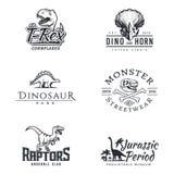 Dino logouppsättning Dinosaurielogotyp Design för rovfågelsportmaskot Mall för vektorT-rex etikett Illustration för Jurassic peri royaltyfri illustrationer