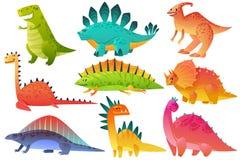 Dino mignon Bande dessin?e heureuse de jungle de chiffre de dinos de brontosaure de pterosaur d'enfants de nature de caract?re d' illustration libre de droits
