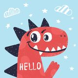 Dino mignon, illustration de dinosaure pour le T-shirt d'impression illustration libre de droits
