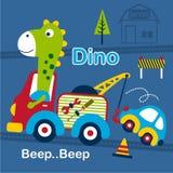 Dino och för bärgningsbil rolig tecknad film, vektorillustration Arkivbilder