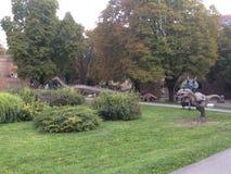 Dino Park dichtbij Kalemegdan-vesting in Belgrado, Servië Stock Foto's