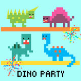 Dino party card. Pixel 8 bit cartoon illustration set of  colorful variegated dinosaurs dancing with fireworks and lettering Dino party on blue background Stock Image