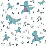 Dino in yoga asana pattern stock illustration
