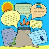Dino Planner Copie pour programmer les leçons, la liste de remue-ménage pour des écoliers et les élèves du cours préparatoire Din illustration libre de droits