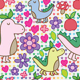 Dino plant flower seamless pattern Stock Photo