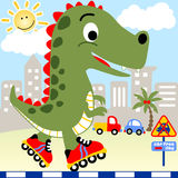 Dino play roller skate Royalty Free Stock Image